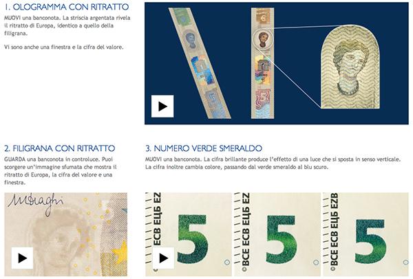 Screenshot della nuova serie degli euro