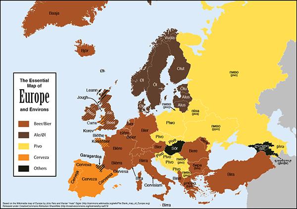 Il nome della birra in Europa