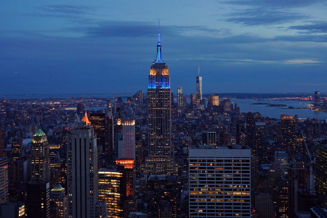 L'Empire State Building si colora di blu per lo per lo Europe Day 2017