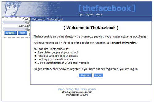 Screenshot di Facebook nel 2004