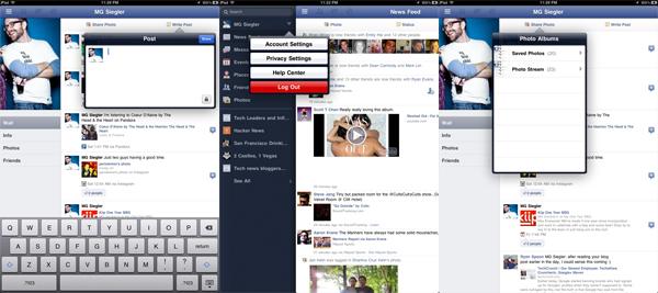 Screenshot della applicazione di Facebook per iPad