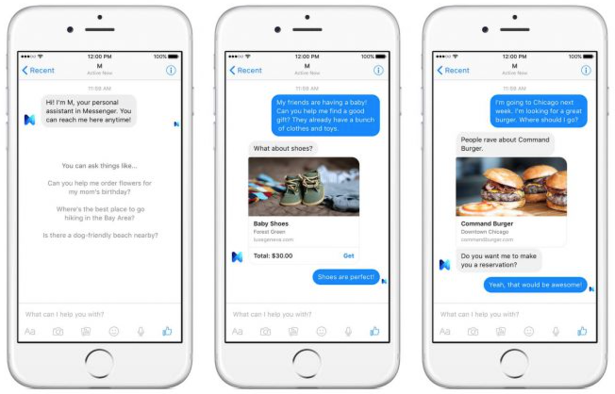 Screenshot di Facebook Messenger con M
