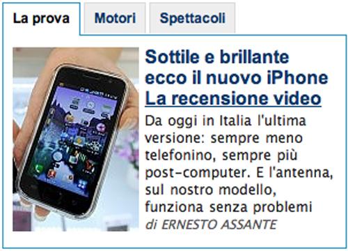 Il falso iPhone 4 su La Repubblica