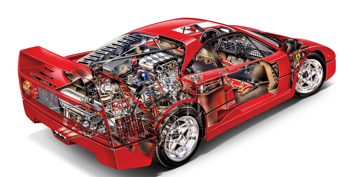 Spaccato della Ferrari F40