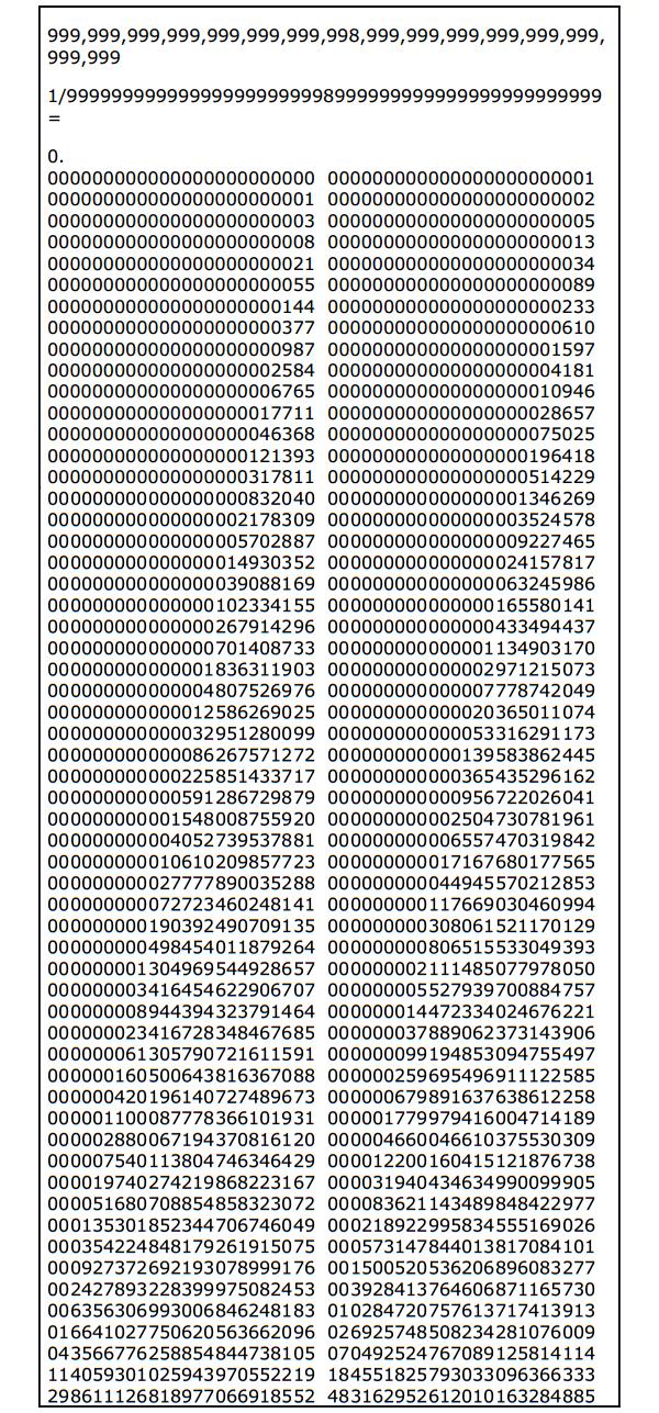 Successione di Fibonacci come risultato di una divisione