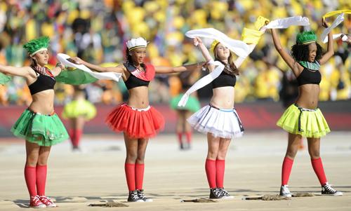 Un momento della cerimonia di apertura dei mondiali di calcio in Sud Africa