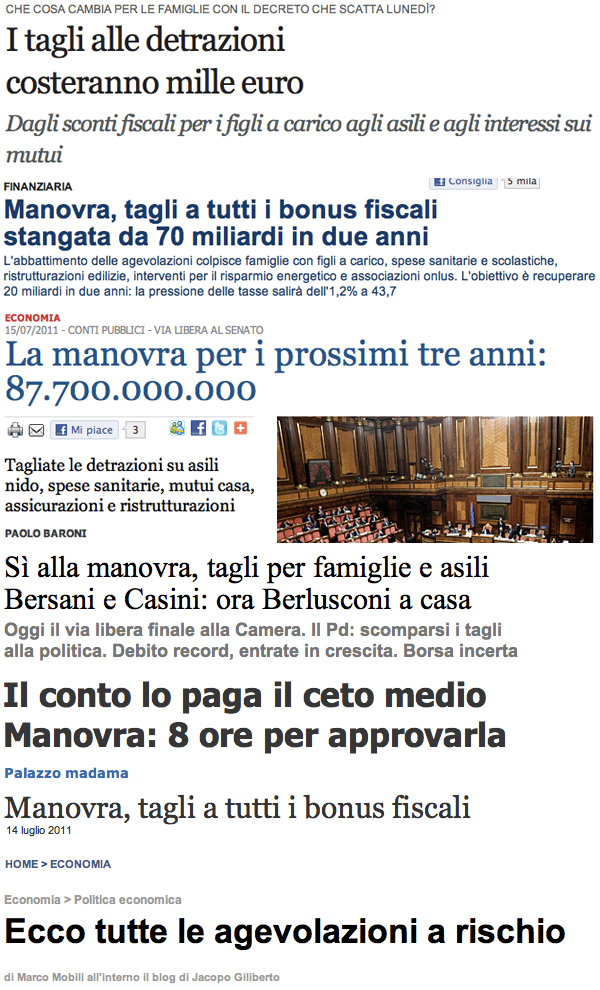 Screenshot dei principali giornali italiani