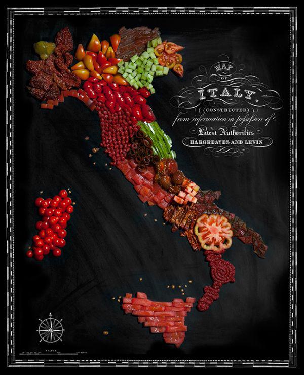 La mappa del cibo dell'Italia