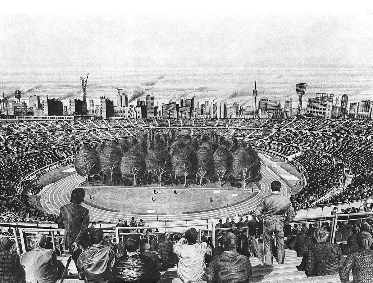 Una foresta in uno stadio nel disegno di Max Peintner
