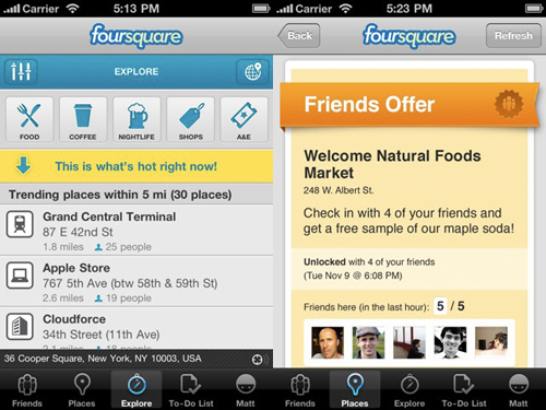 La nuova interfaccia di Foursquare
