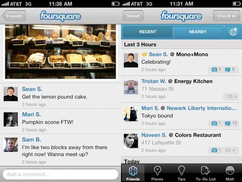 La nuova interfaccia di Foirsquare con foto e commenti