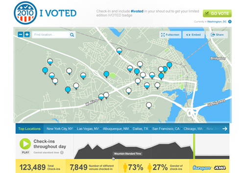 Screenshot di Foursquare 'I voted' per le elezioni di mid-term americane