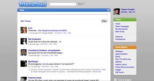 Screenshot della versione beta di FriendFeed