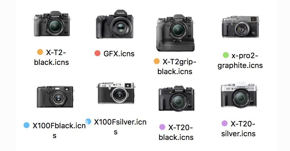 Le icone delle macchine fotografiche Fujifilm