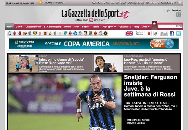 Screenshot de La Gazzetta dello Sport