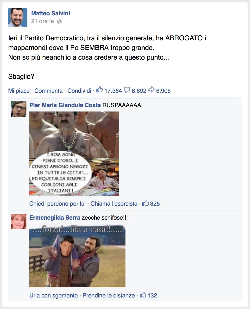 Il generatore di post di Salvini