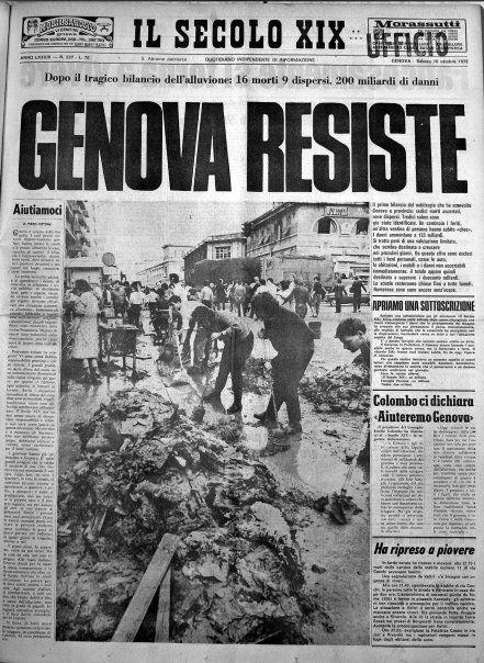 La prima pagina del Secolo XIX sull'alluvione del 1970