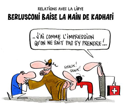 La vignetta sul trattamento riservato a Gheddafi dai leader d'Europa