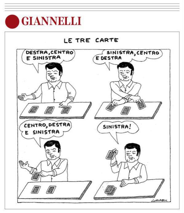 Una vignetta di Giannelli sul premier Renzi