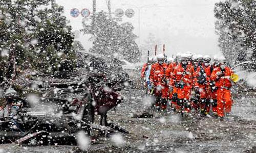 Nevica su Otsuchi nella prefettura di Iwate