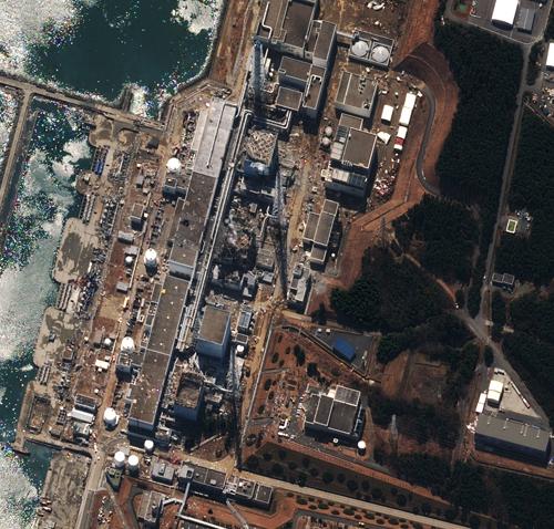 Foto satellitare della centrale nucleare di Fukushima Daiichi