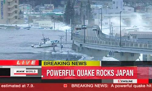 In tv le immagini dello tsunami che ha colpito Kamaishi in Giappone