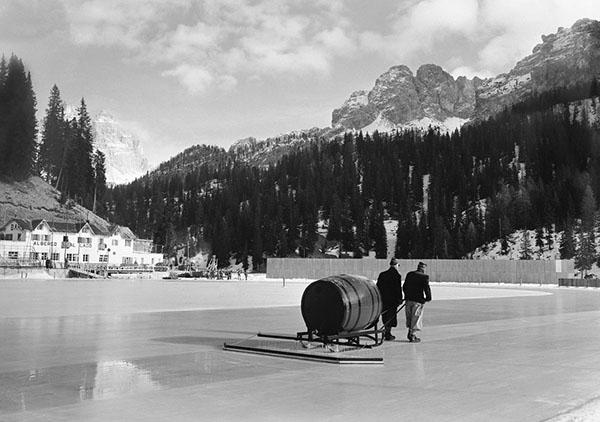 L'antenato dello Zamboni a Cortina d'Ampezzo 1956