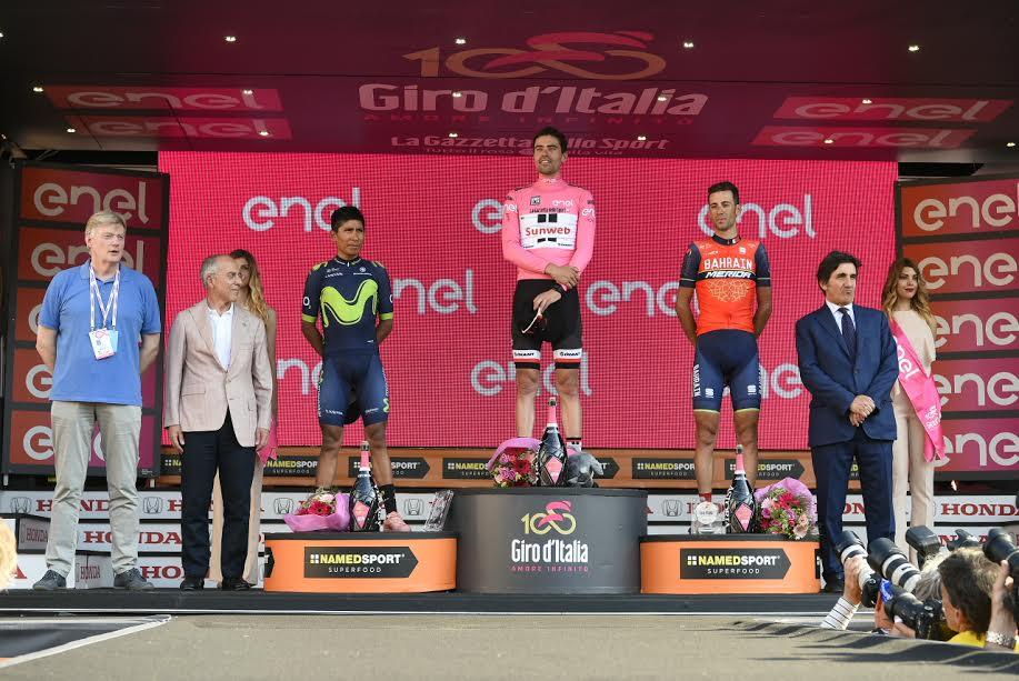 Il podio del Giro d'Italia 2017