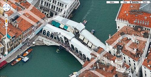 La vista di Venezia a volo d'uccello su Google Maps