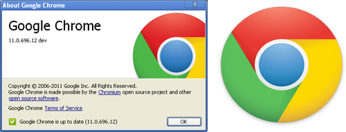 Screenshot di Google Chrome e il nuovo logo