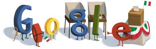 Il doodle di Google per le elezioni in Italia