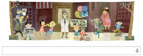 Il Googl doodle per Jonas Salk