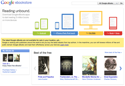 Screenshot di Google ebookstore