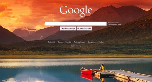 Uno dei nuovi sfondi della homepage di Google