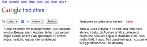 Screenshot di Google Translate