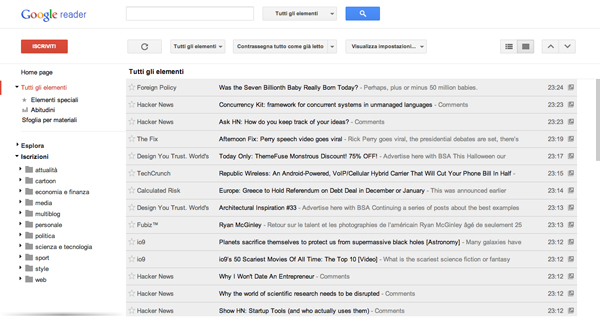 Screenshot di Google Reader