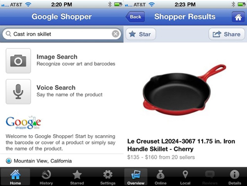 Screenshot di Google Shopper