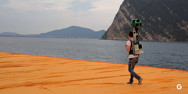 The Floating Piers ripreso da Google Street View
