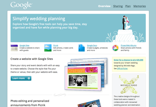 Screenshot di Google Weddings