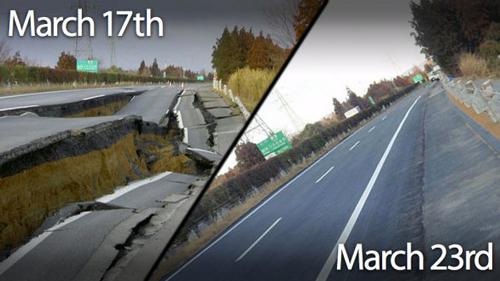 L'autostrada Great Kanto Highway dopo il sisma e oggi
