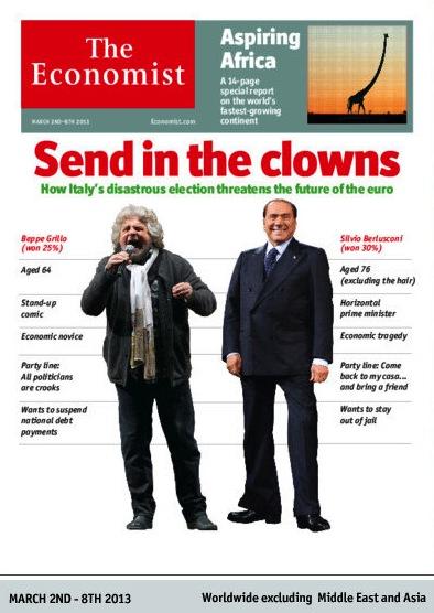 La copertina dell'Economist su Grillo e Berlusconi