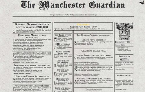 L'edizione del Guardian in versione 1821