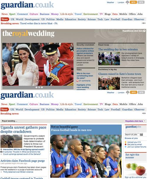 Le due versioni del Guardian per repubblicani e monarchici