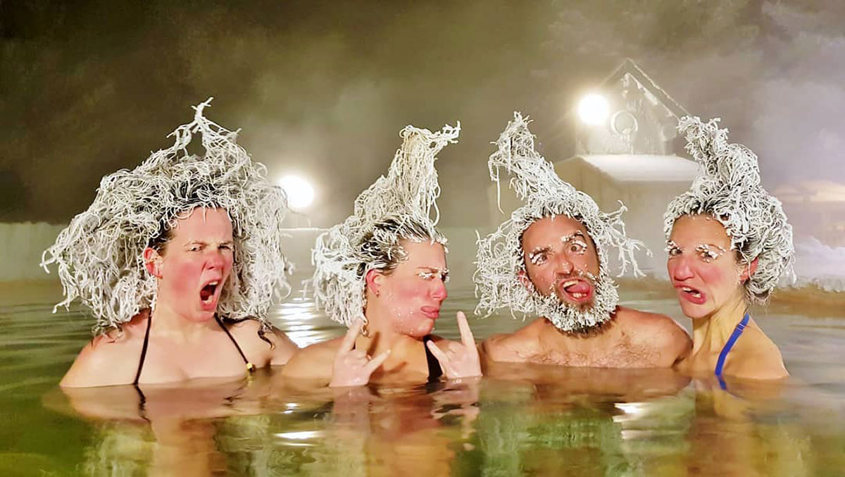 L'Hair Freezing Contest al Takhini Hot Springs resort