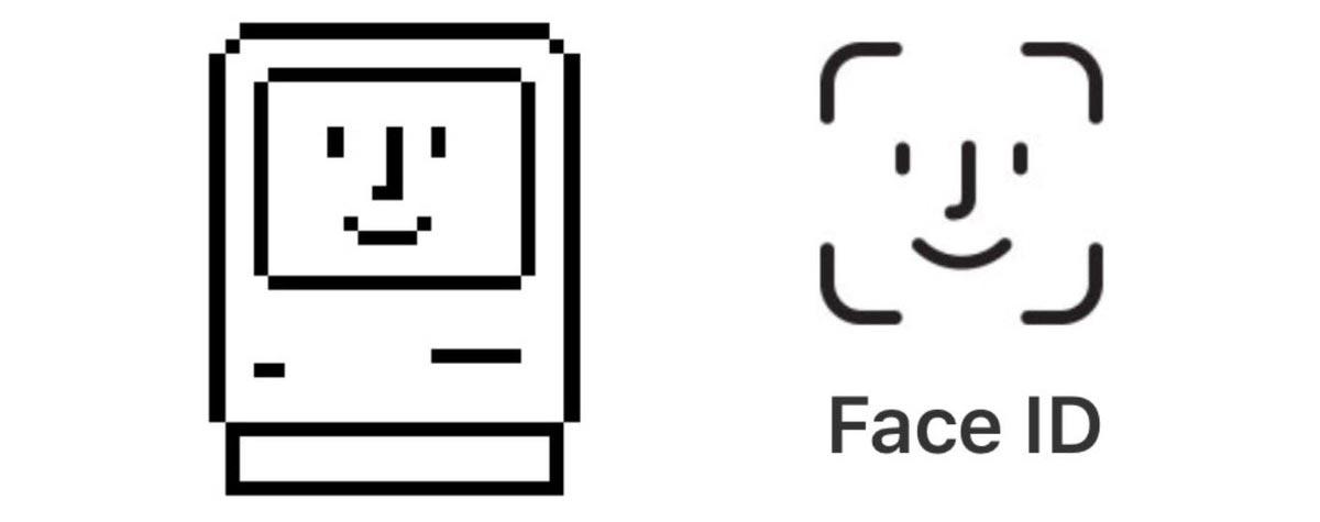 Le icone Happy Mac e Face ID di Apple
