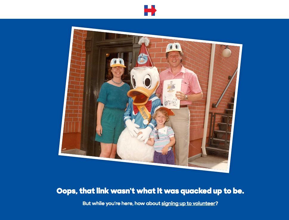 La pagina 404 del sito di Hillary Clinton