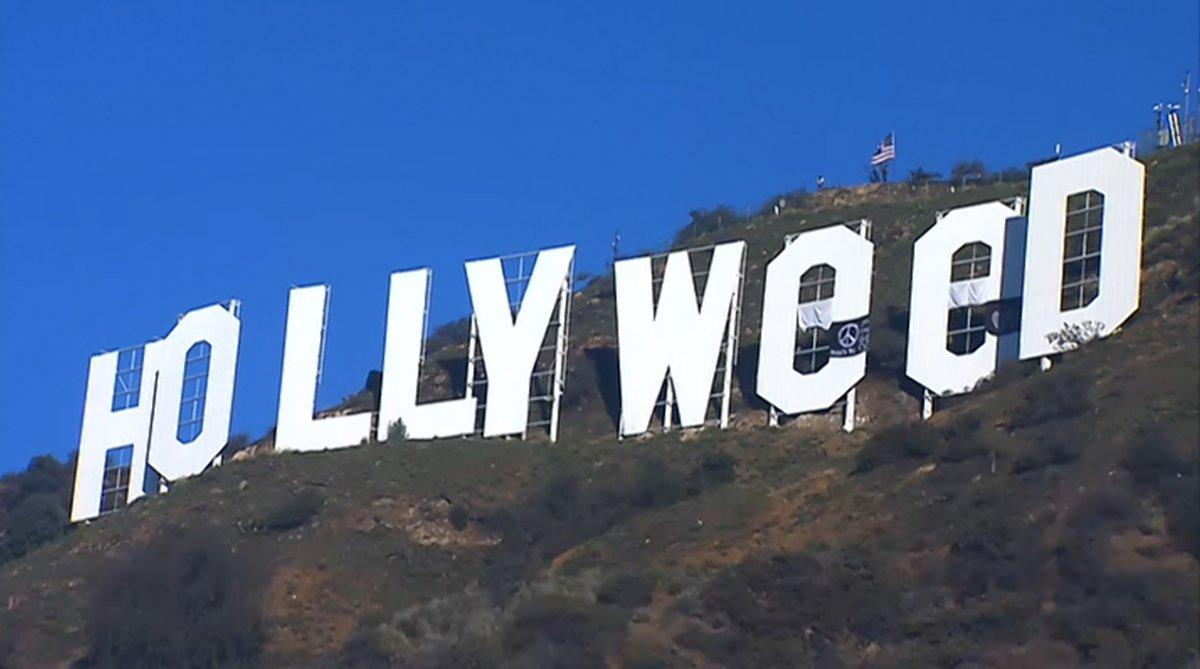 L'insegna di Hollywood trasformata in Hollyweed
