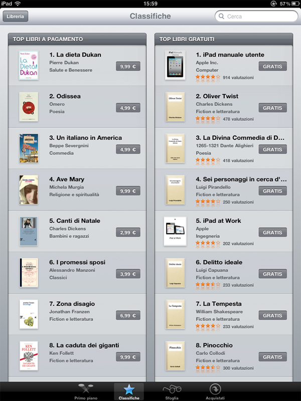 Screenshot di iBook store