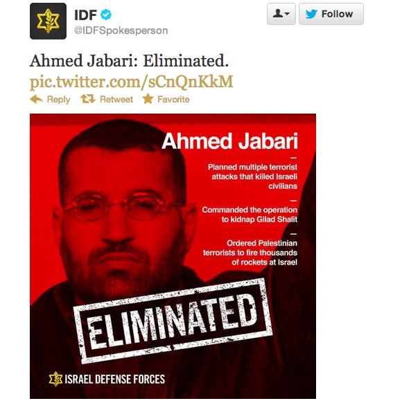 Il messaggio dell'IDF su Twitter