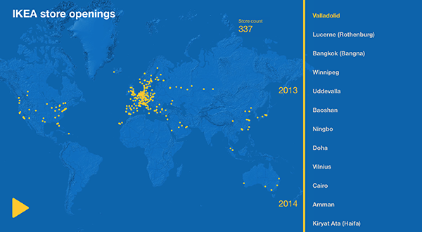 La diffusione di Ikea nel mondo